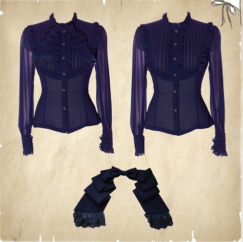 High-end Vintage Chiffon Lace Princess Slim Lolita Blouse