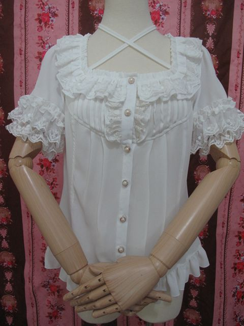 Square Collar Chiffon Lace Loose Short Sleeve Lolita Blouse