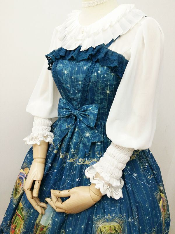 Lace Round Collar Accordion Pleat All-match Lolita Blouse