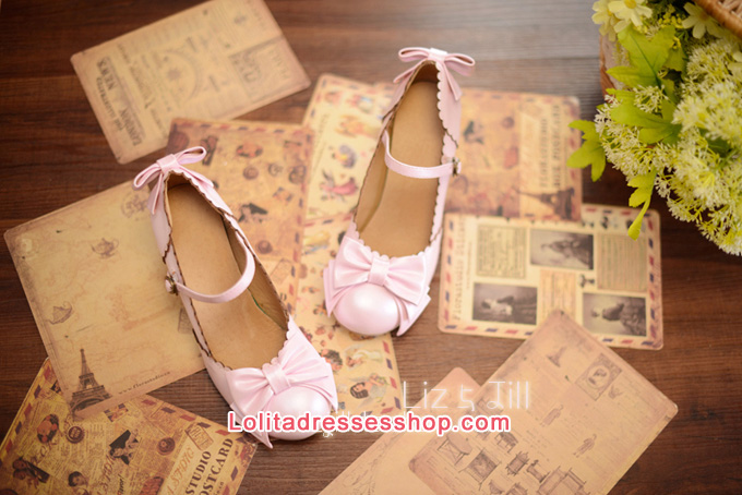 Double Bow PU Lolita Shoes