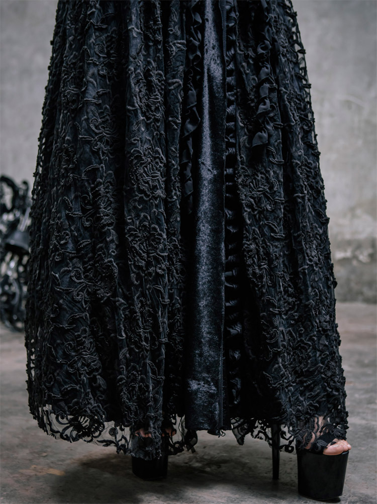 Dark Witch Gothic Long Bubble Skirt