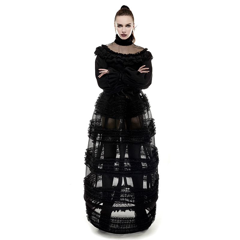 Gothic Steampunk Lace Loose See-through Dress