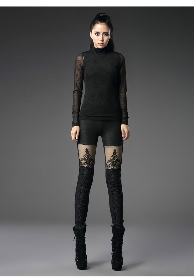 Black Hollow Lace Leggings