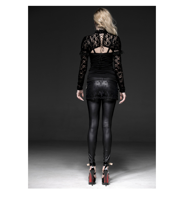 Black Gothic Asymmetric Lace For Women Legging