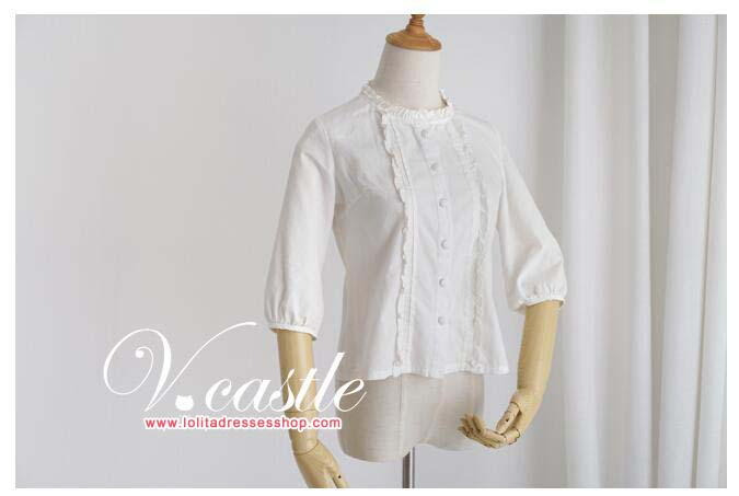 Round Collar Medium Sleeves Lolita Full Cotton Blouse