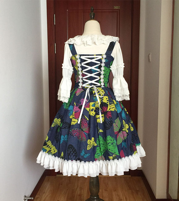 Vintage Spirit Princess Butterfly Dance Jean Printing Braces Lolita Dress