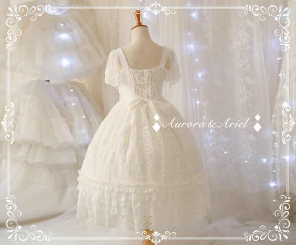 Solemn Pure White Embroidery Long Lolita JSK