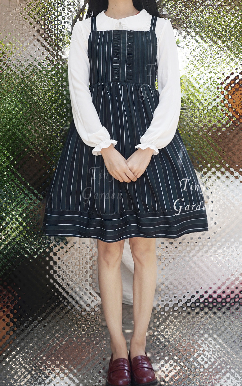 Vintage College Stripe Lolita Braces Lolita Dress