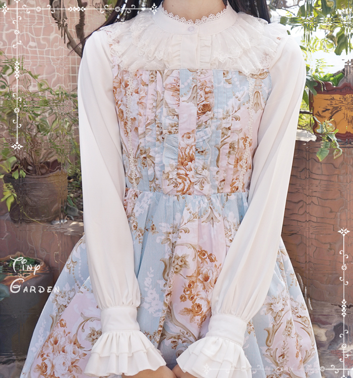 Chiffon Lace Double-deck Round Collar Long Sleeve Lolita Blouse
