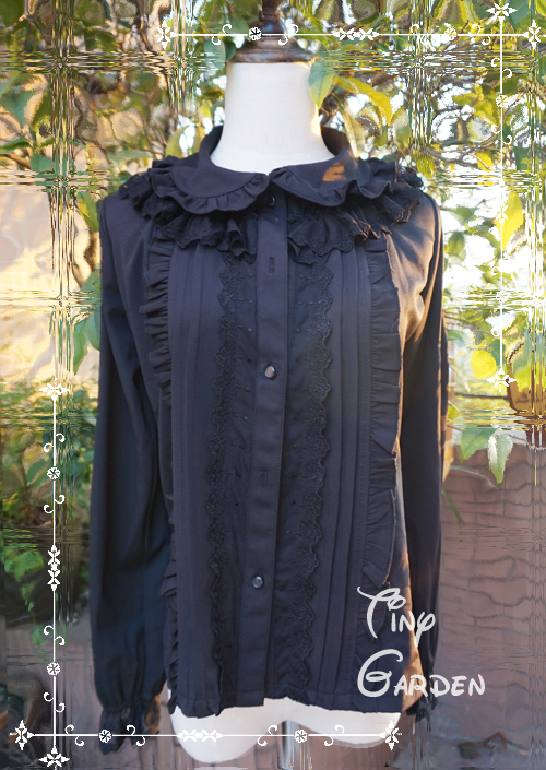 Black Long Sleeve Multilayer Lace Lolita Blouse