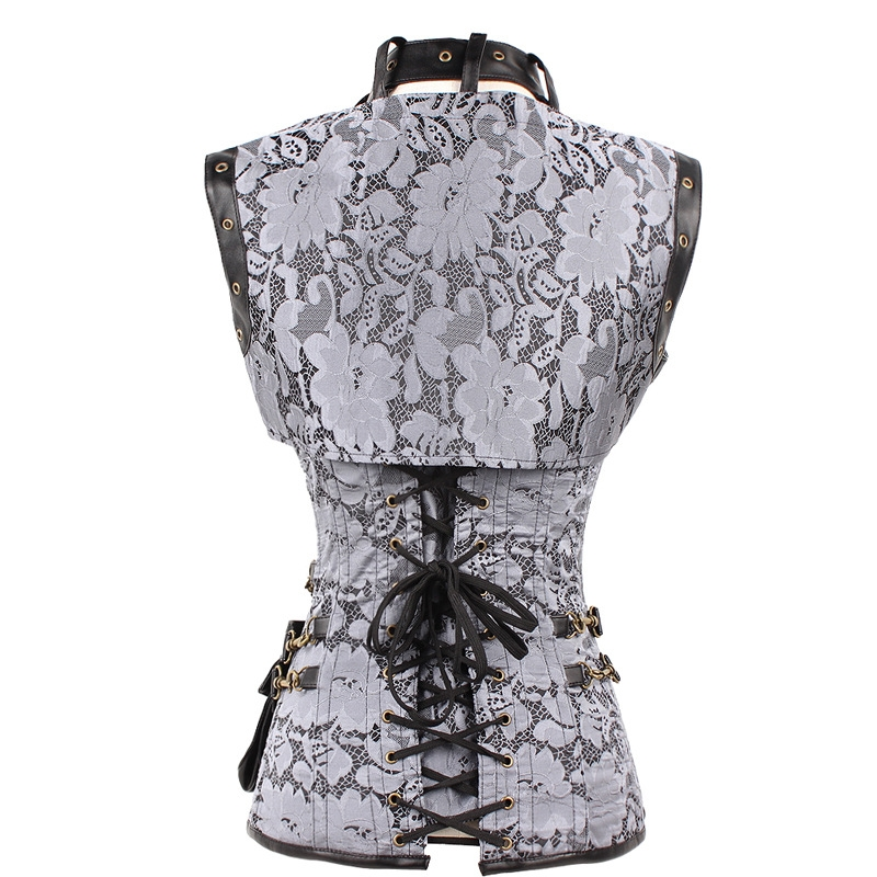 Black Pattern Overbust Steampunk Corset With Jacket