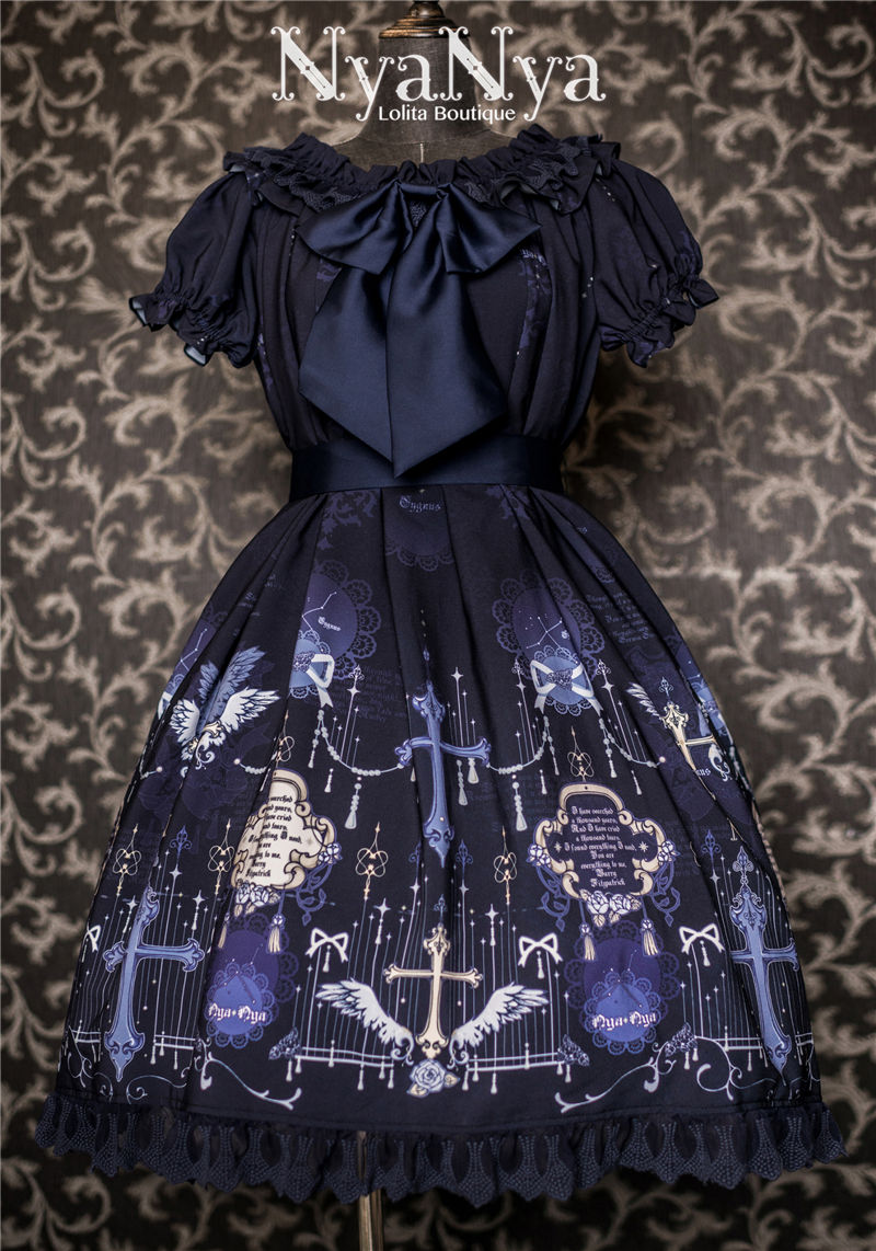 North Cross Stars Off Shoulder Bubble Sleeve Lolita OP