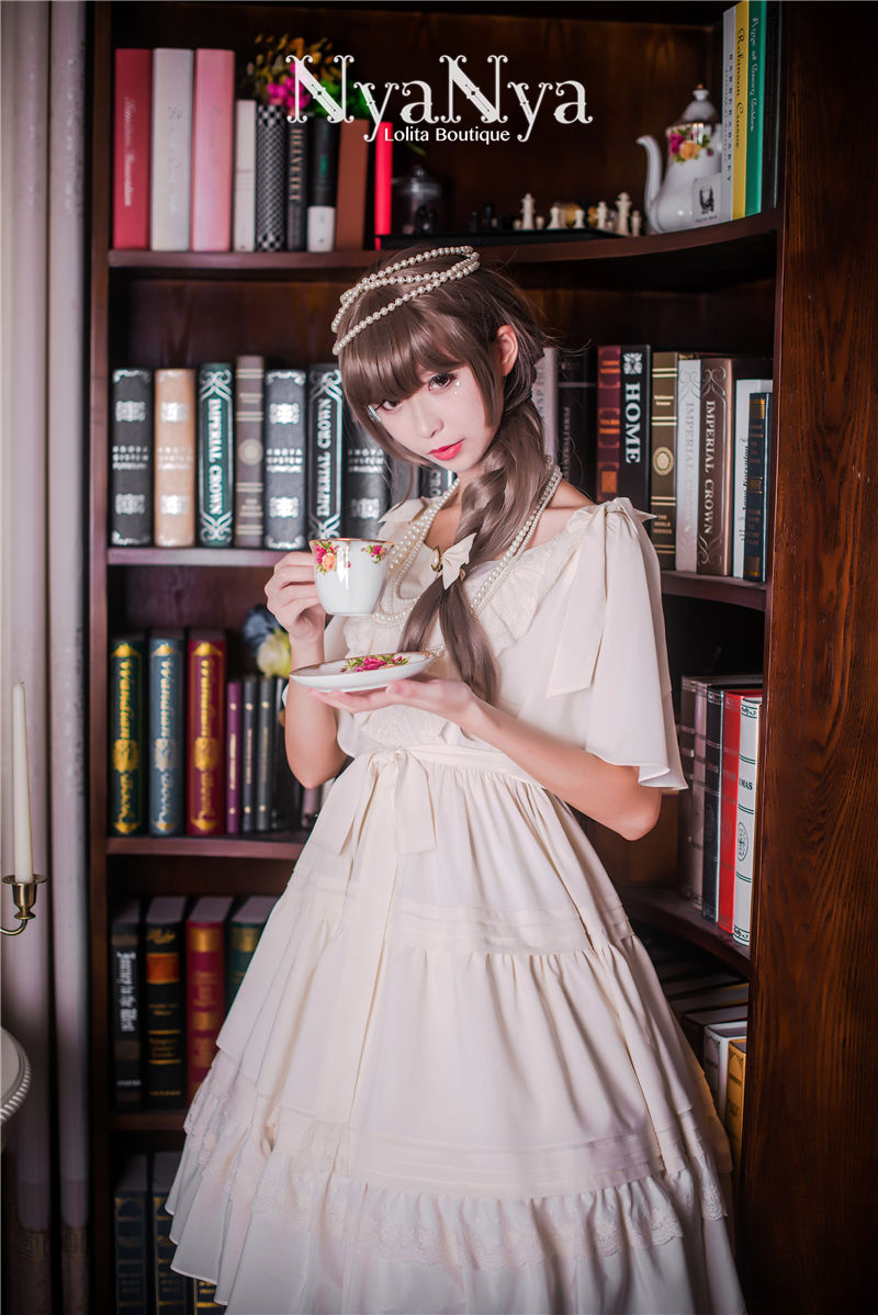 Solid Color Chiffon Dawn And Moon Four Meters Sweep Short Sleeve Lolita OP