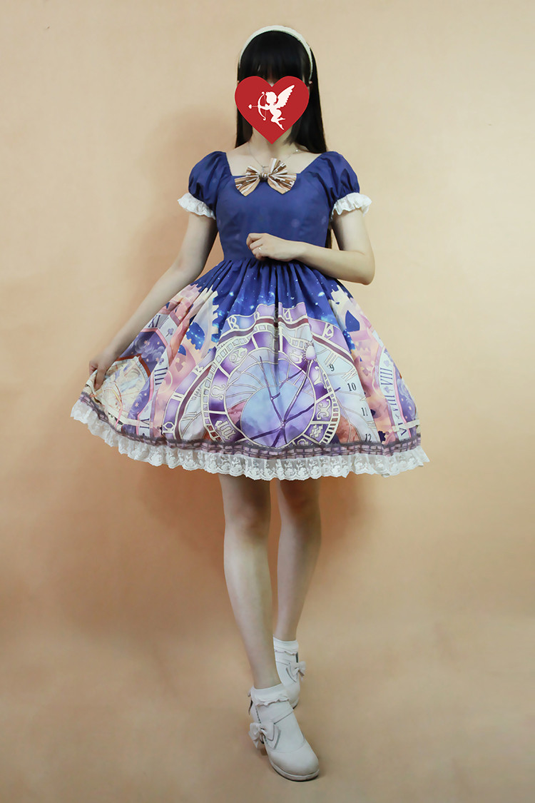 Prague Astronomical Clock Mini Lolita Short Sleeves OP Dress