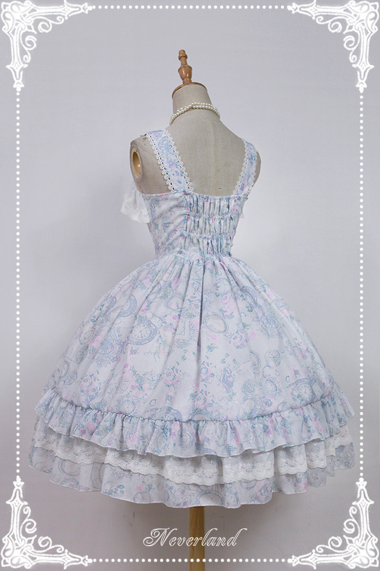 Antique Clock Chiffon Tailored Lolita Printed JSK