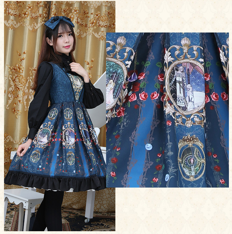 Chiffon Printing Ties Backless Bow Lolita Sling Dress