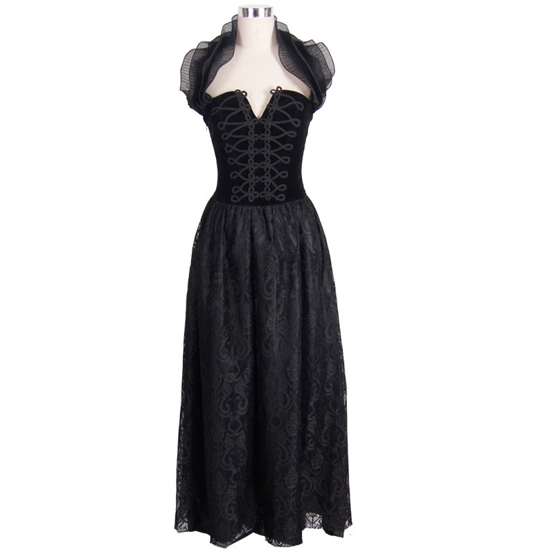 Romantic Black Gothic Halter Corset Prom Dress