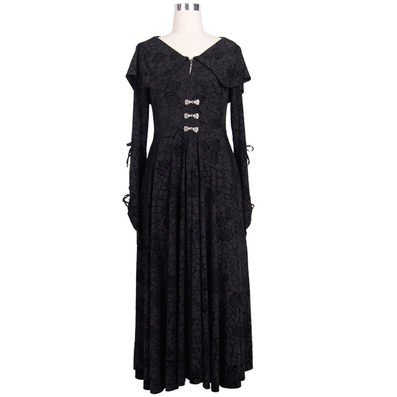 Steampunk Female Priest Slim Gothic Hooded Dress