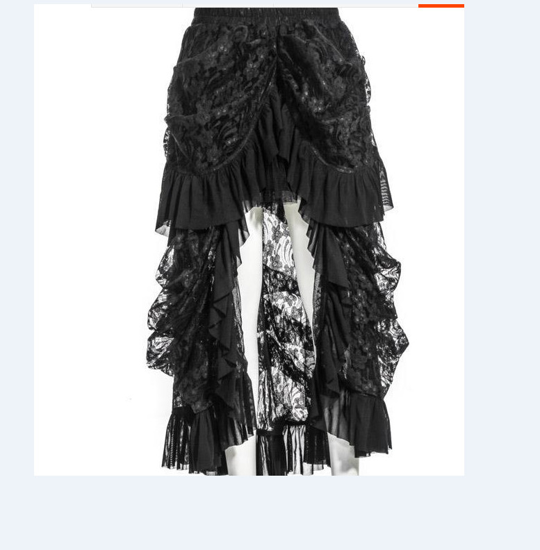 Black High-low Lace Steampunk Skirt