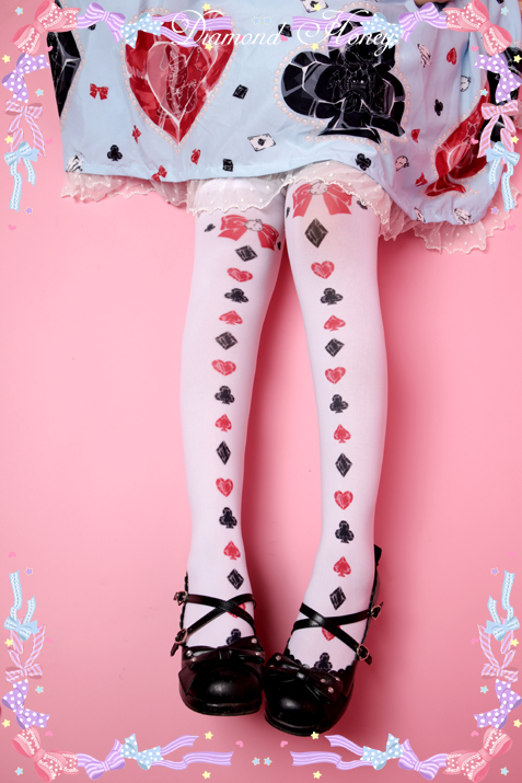 Alice Poker Bow Red Heart Queen Thigh High Socks