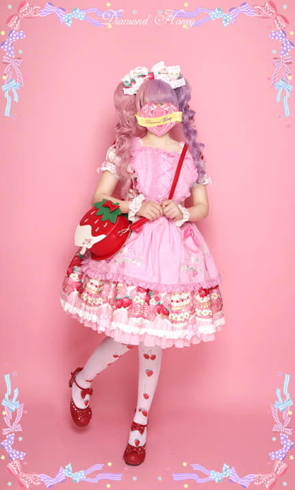 Strawberry Cream Lolita Cute Embroidered Diagonal Package