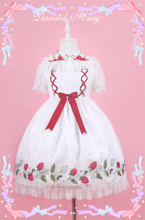 Strawberry Rattan Lolita Dress Cute Auger Strawberry Embroidery Dress