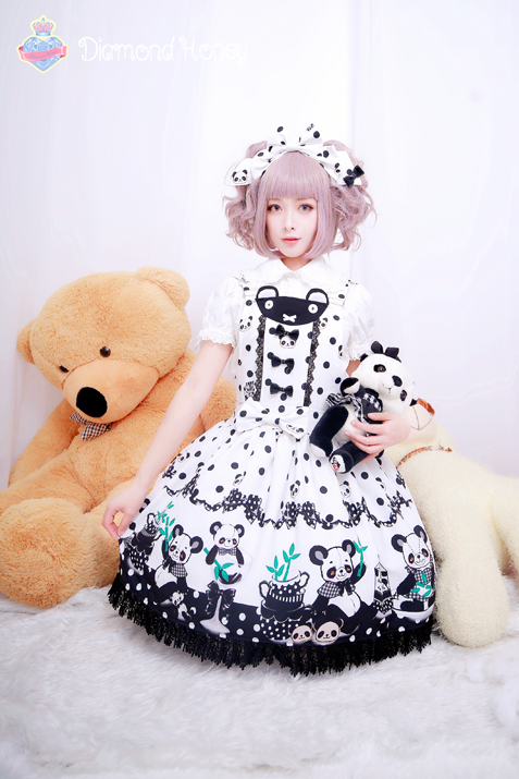 Breakfast Panda Sauce Lolita Cute Black and White Chinese Style Strap Skirt Dress