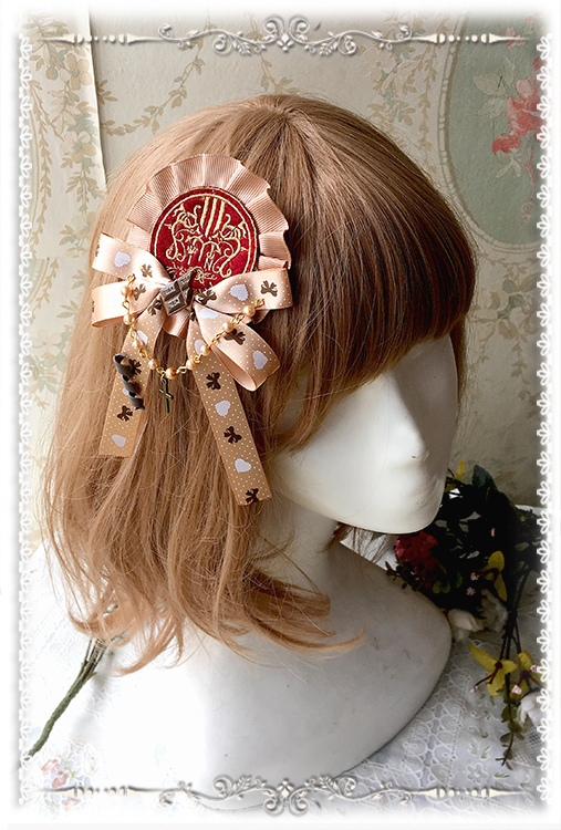 Cloth Embroidered Chocolate / Poker Resin Brooch Headdress