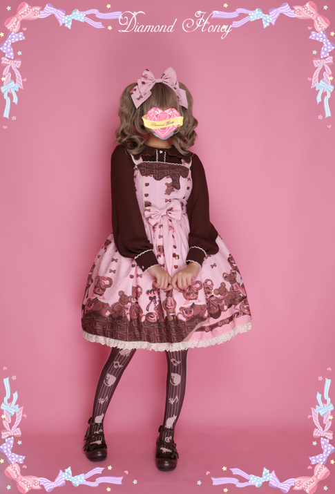 Diamond Honey - Chocolate Bear Cute Sweet Bow Lace Dress
