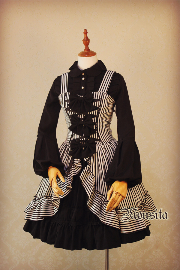 Mousita -Gothic Stripe Lolita JSK Dress (Custom Sizing Available)