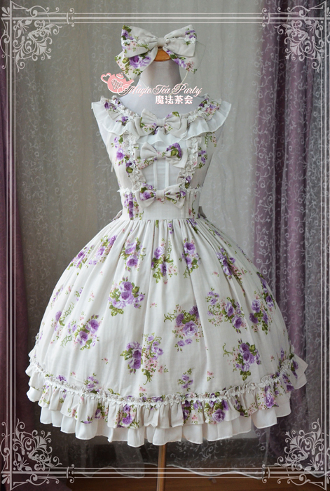 Magic Tea Party - Purple Flowers Printed Lolita JSK Dress