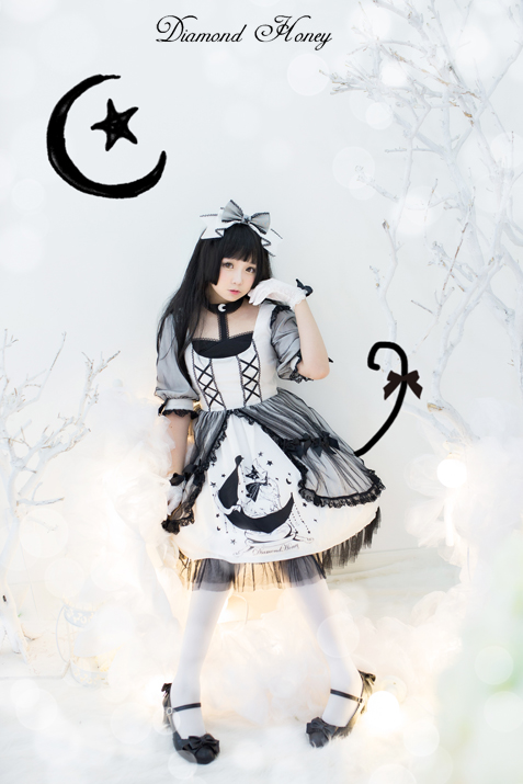 Star&Moon Cats- Sweet Lolita Princess OP Dress