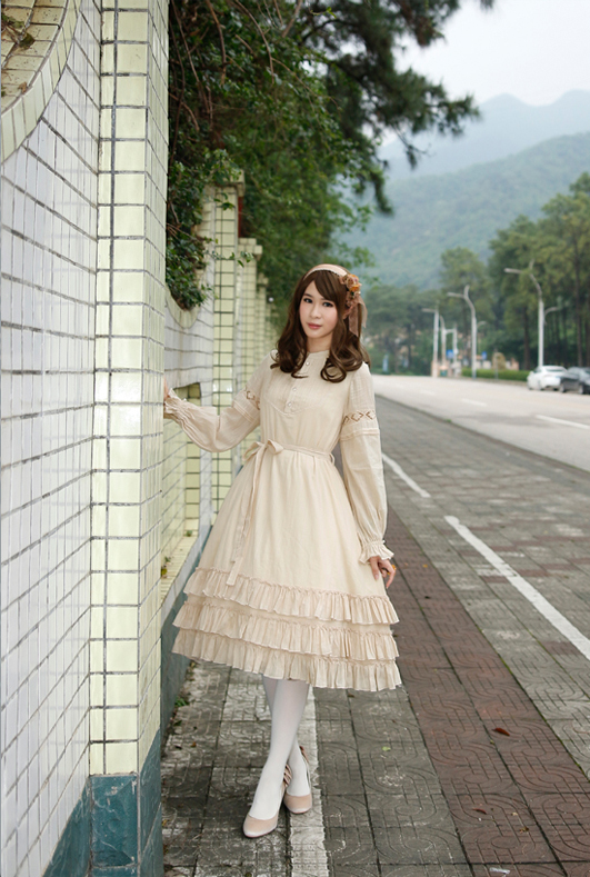 Dawn of the Aurora cotton jacquard fine pleated lace long - sleeved OP