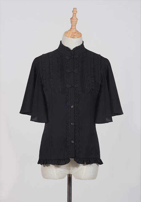 Fragrance Sparse Standing Collar Butterfly Sleeve Shirt Black