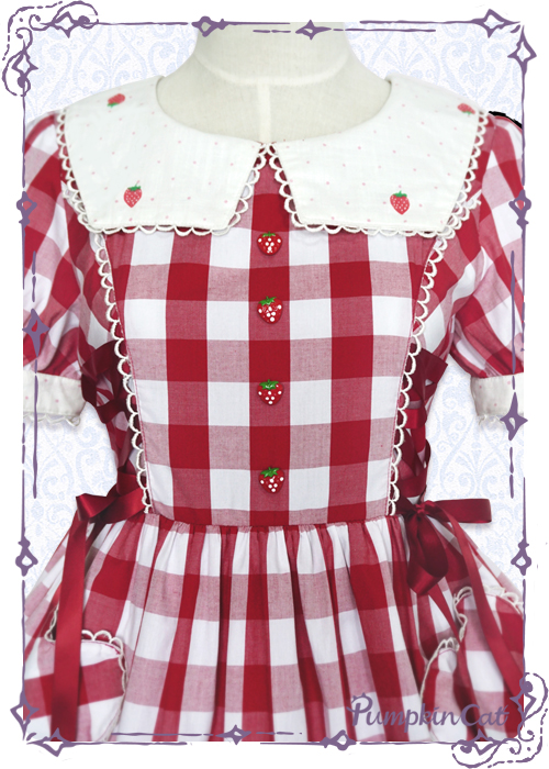 Pumpkin Cat Sweet Red White Gingham Lolita OP Dress
