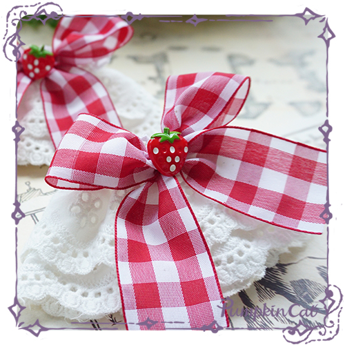 Pumpkin Cat Sweet Red White Gingham Lolita Hairclip