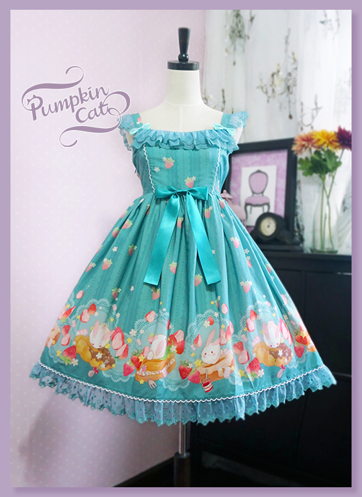 Pumpkin Cat -Spun Sugar Rabbit- High Waist Lolita Jumper Dress