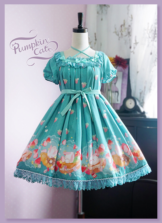 Pumpkin Cat -Spun Sugar Rabbit- High Waist Lolita Jumper Dress Short sleeve