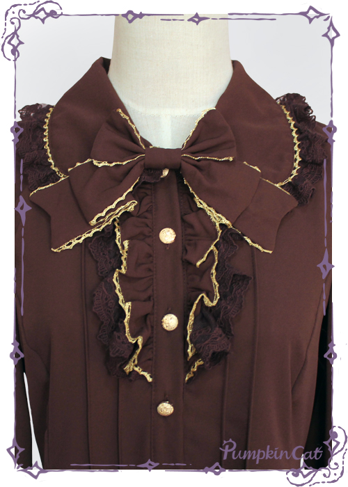 Pumpkin Cat Sweet Chiffon Long Sleeves Lolita Blouse