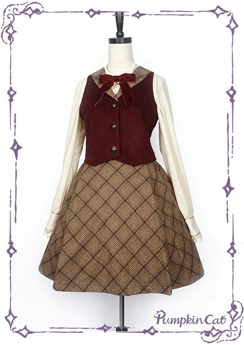 Pumpkin Cat -The Detective Academy- Lolita Vest and Skirt Set