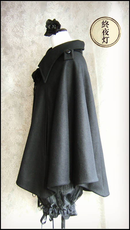 Bat wing wool cashmere cloak cloak black thick section