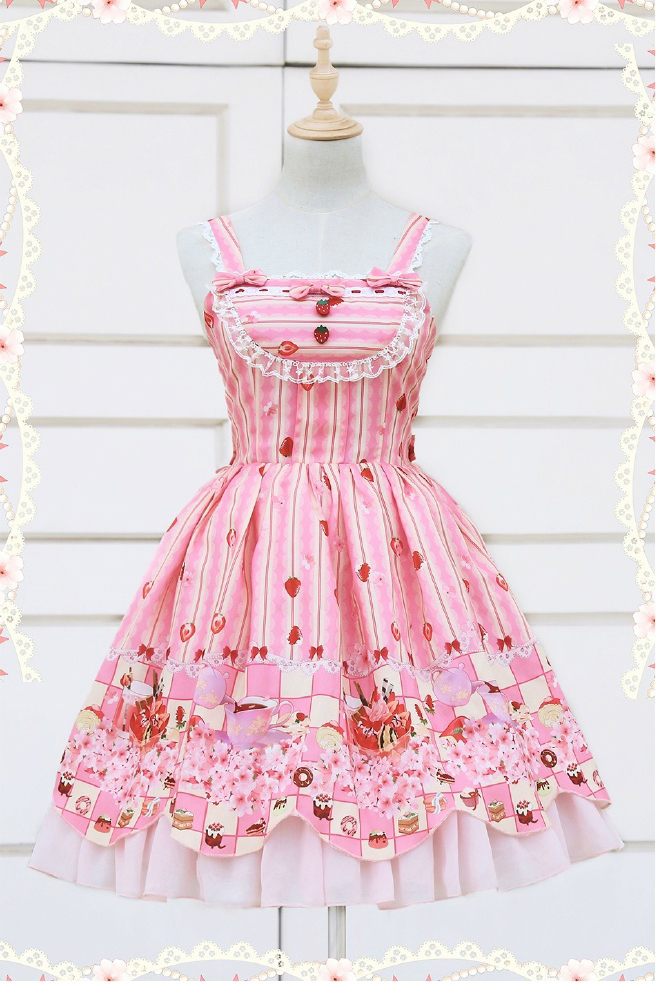 Cute lace strawberry cherry jsk dress