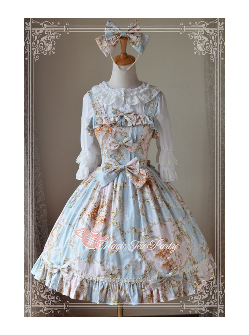 Magic Tea Party Veronica Series Light Blue Elegance Printing Sling Dress Classic Lolita