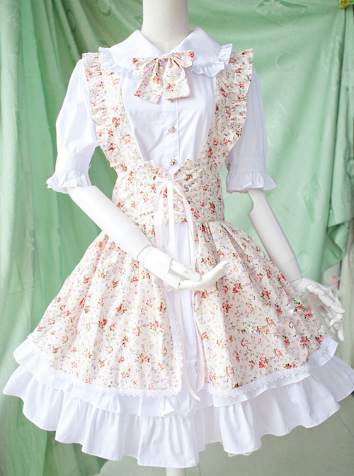 Pastoral Style Fake Two Pieces Floral Prints Short Sleeve Dress Sweet Lolita