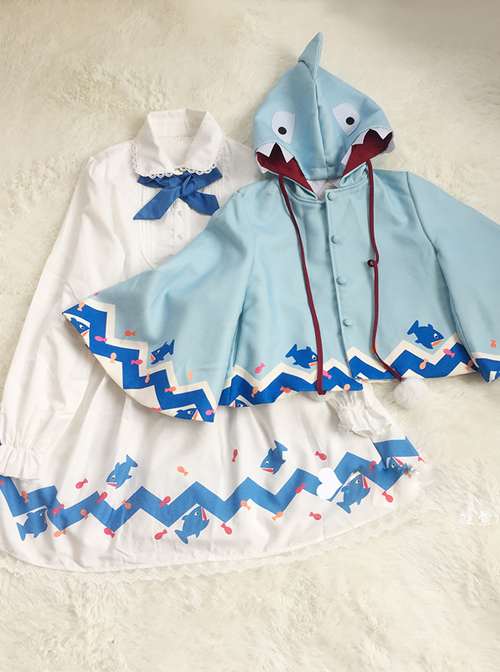 Lovely Shark Series White Long Sleeves Dress With Thickened Shark Shawl Sweet Lolita