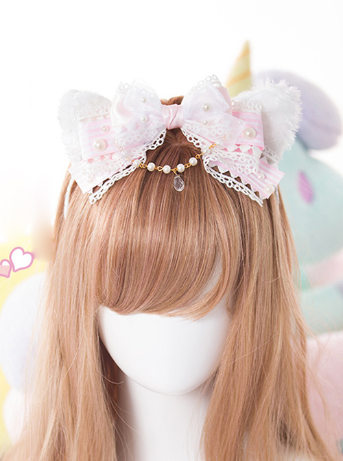 White Cat Ears Pearl Lace Bowknot Bead Chain Head Band Sweet Lolita