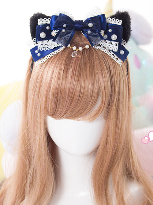 Black Cat Ears Pearl Lace Bowknot Bead Chain Sweet Lolita Head Band