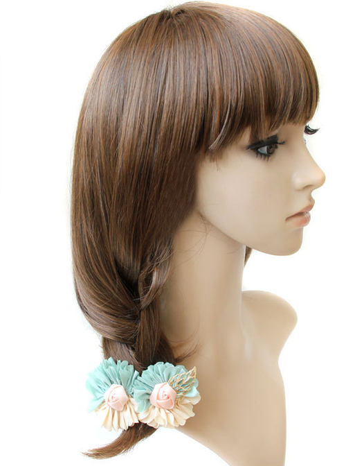 Light Yellow And Mint Color Mixed Color Flower Sweet Lolita Hairpin
