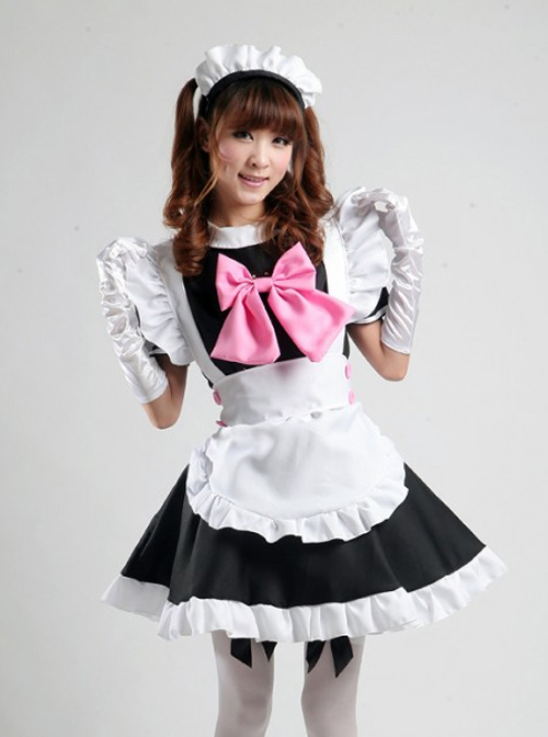 Hatsune Miku Cosplay Costume Maid Lolita Pink Bowknot Dress