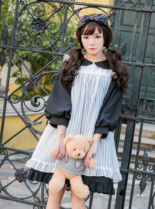 Alice Cute Doll Collar Chiffon Fashion Lolita Dress With Overskirt